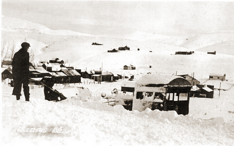Winter mail arrived in Midas on skis and snowshoes in the 1930s.